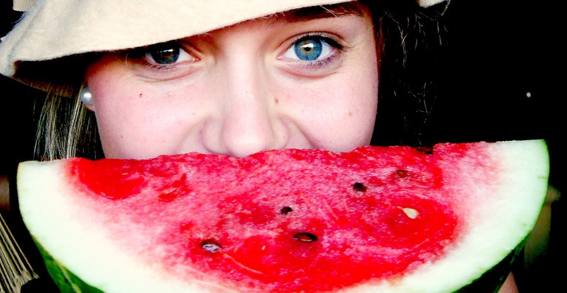Girl with watermelon smile