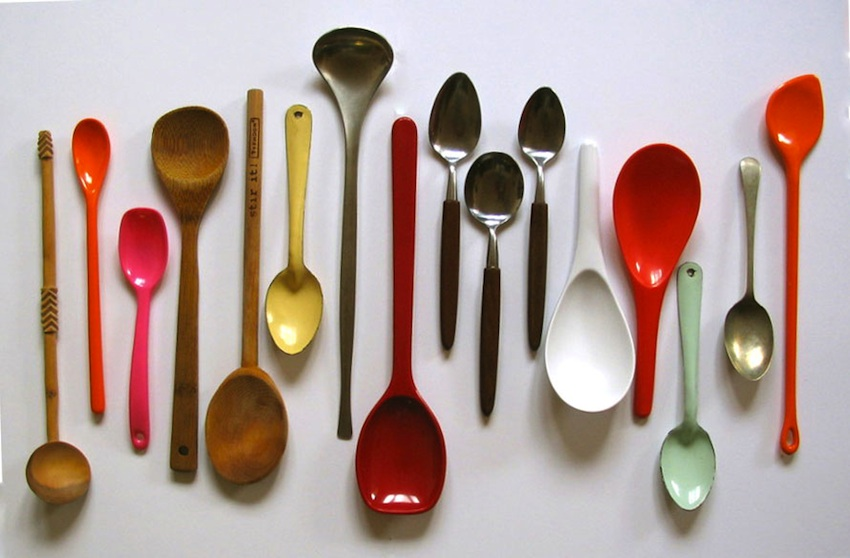Beautiful spoons on a table