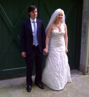 Kat on her wedding day. Spot the Birkenstocks!