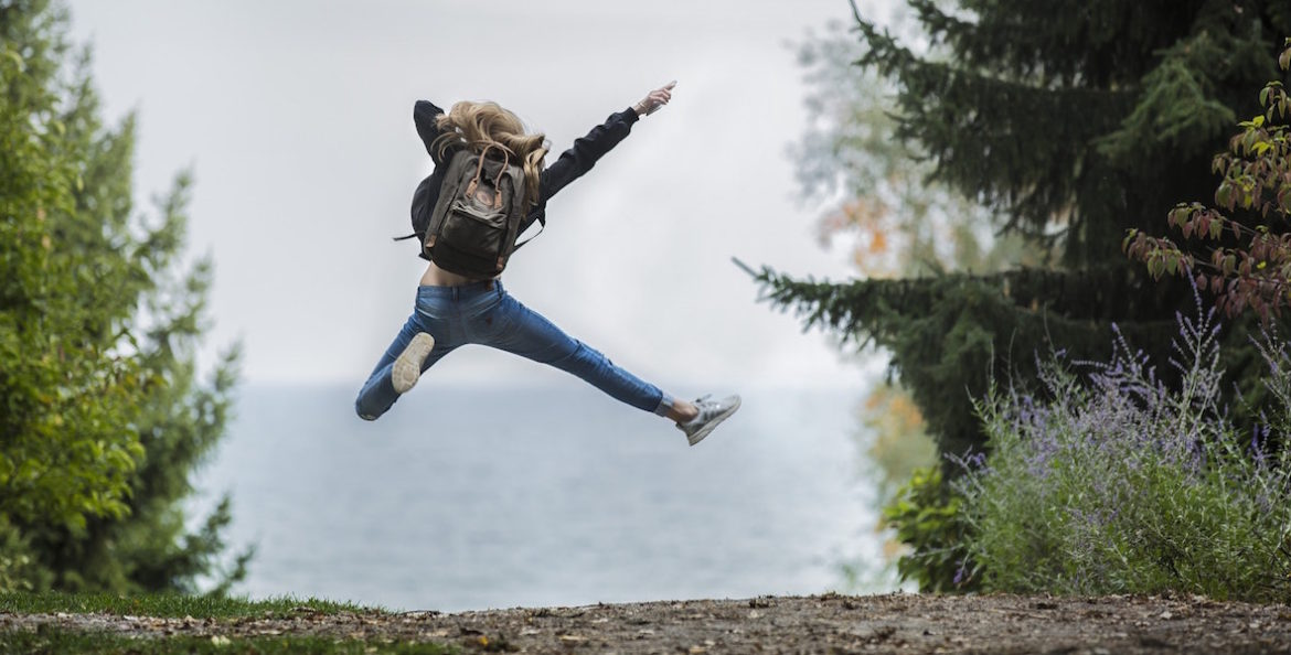 Girl leaping in the air